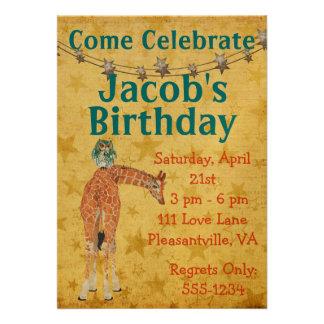 Amber Giraffe Owl Star Birthday Invitation