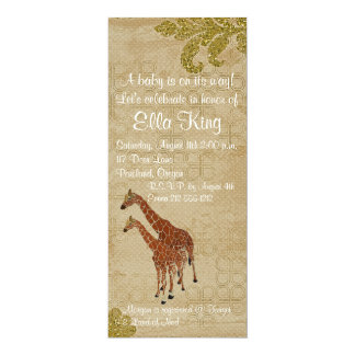 Amber Giraffes Baby Invitation