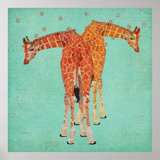 Amber Giraffes Starry Night Poster