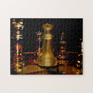 Amber glass chess photo puzzle