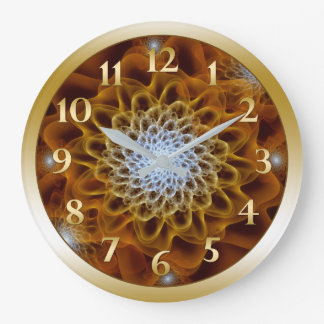 Amber Gold Brown Bloom Large Clock