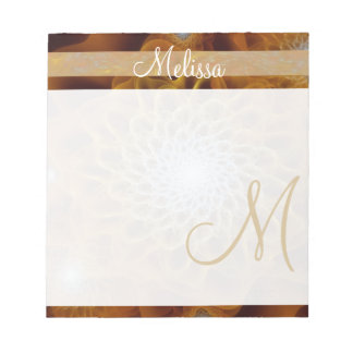 Amber Gold Brown Monogram Floral Notepad