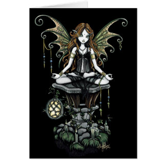 """Amber"" Gothic Lotus Nature Faerie Art Card"