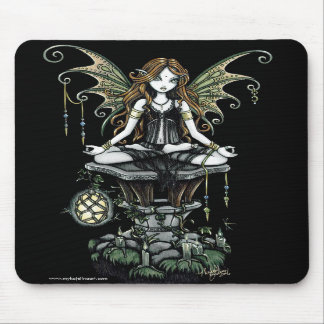 """Amber"" Gothic Lotus Nature Faerie Art Mousepad"