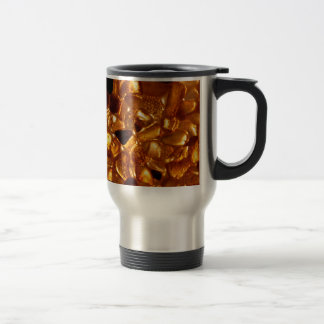 Amber grains with backlight illumination travel mug