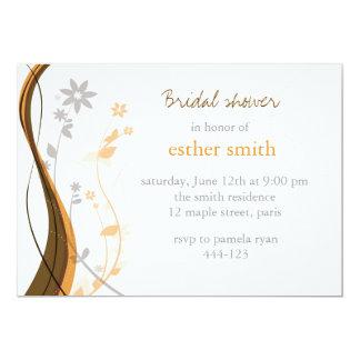 Amber & grey floral charm invitation