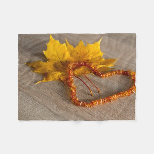Amber heart and fall leave fleece blanket