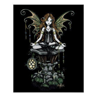 """Amber"" Lotus Nature Fairy Poster"