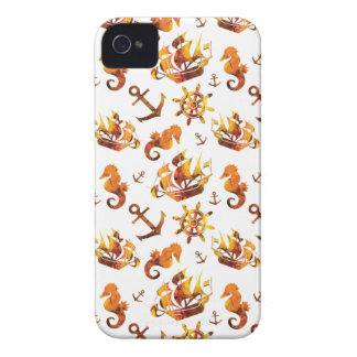 Amber nautical pattern custom background color iPhone 4 case