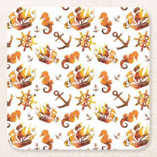 Amber nautical pattern custom background color square paper coaster
