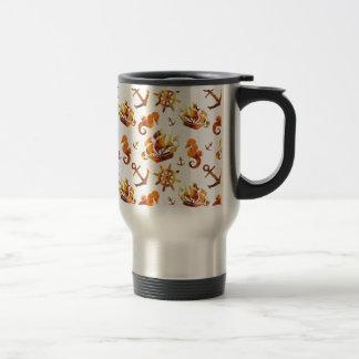 Amber nautical pattern custom background color travel mug