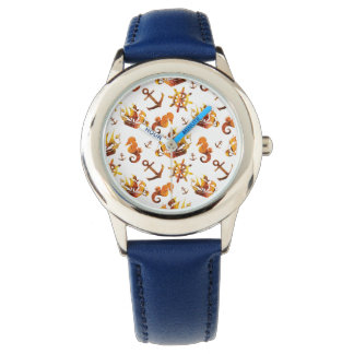 Amber nautical pattern custom background color wrist watches
