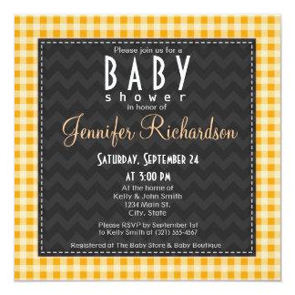 Amber Orange Gingham Baby Shower invitation