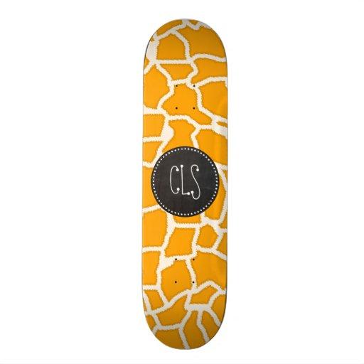Amber Orange Giraffe Animal Print; Chalkboard Skateboards