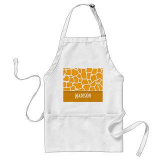 Amber Orange Giraffe Print; Personalized Standard Apron