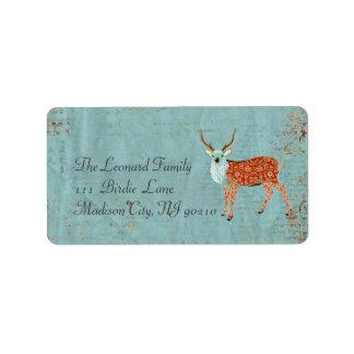 Amber Ornate Deer Address Label