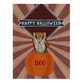 AMBER OWL PUMPKIN HALLOWEEN Postcard