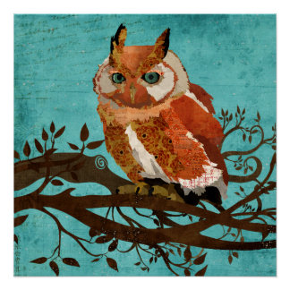 Amber Owl Retro Blue Art Poster Perfect Poster