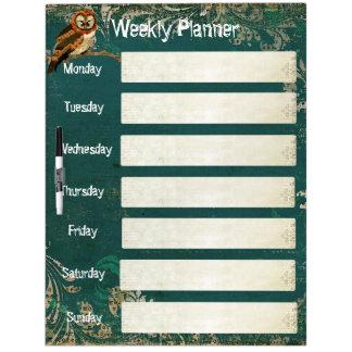 Amber Owl Weekly Planner Dry Erase Board