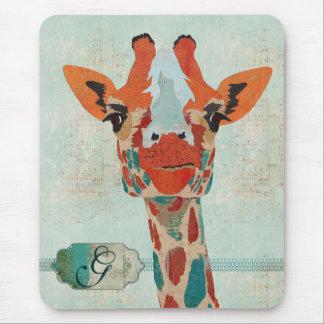 Amber Peeking Giraffe Monogram Mousepad