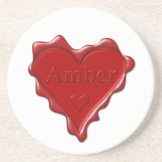 Amber. Red heart wax seal with name Amber Coaster