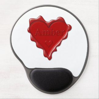 Amber. Red heart wax seal with name Amber Gel Mouse Pad