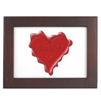 Amber. Red heart wax seal with name Amber Keepsake Box
