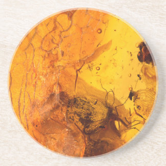 Amber stone texture background coaster