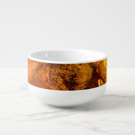 Amber stone texture background soup bowl with handle