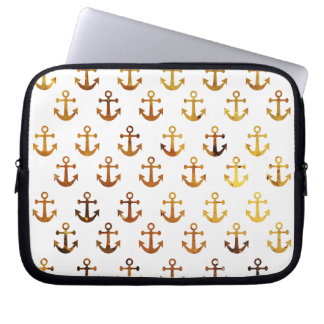 Amber texture anchors pattern laptop sleeve
