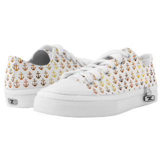 Amber texture anchors pattern Low-Top sneakers