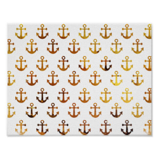 Amber texture anchors pattern poster