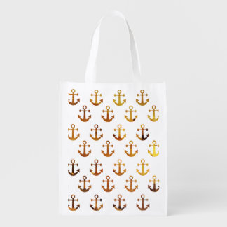 Amber texture anchors pattern reusable grocery bag