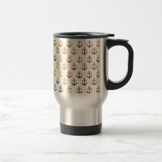 Amber texture anchors pattern travel mug