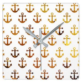 Amber texture anchors pattern wall clock