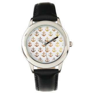 Amber texture anchors pattern watch