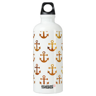 Amber texture anchors pattern water bottle