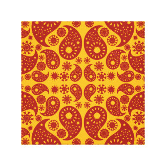 Amber Yellow and Dark Red Paisley. Canvas Print