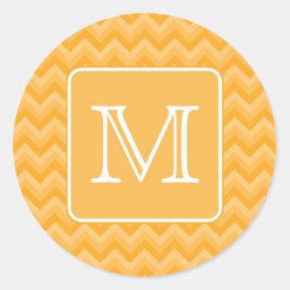 Amber Yellow Chevron Pattern. Custom Monogram. Classic Round Sticker