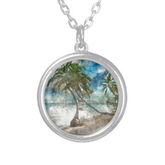 Ambergris Caye Belize Travel Destination Silver Plated Necklace