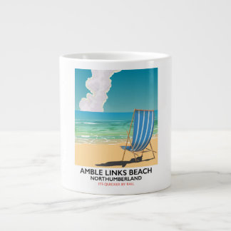 Amble Links Beach Northumberland Travel poster Large Coffee Mug