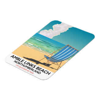 Amble Links Beach Northumberland Travel poster Magnet