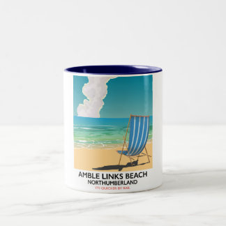 Amble Links Beach Northumberland Travel poster Two-Tone Coffee Mug