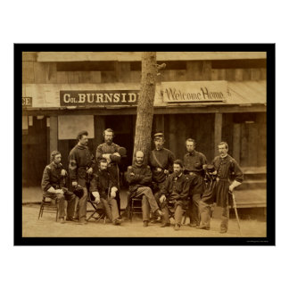 Ambrose Everett Burnside with RI Volunteers 1861 Poster