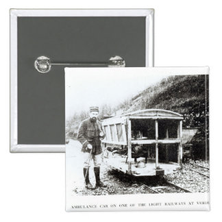 Ambulance Car on One of the Light Railways 2 Inch Square Button