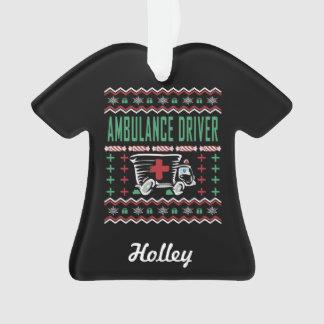 Ambulance Driver Ugly Christmas Sweater Ornament