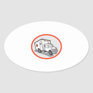 Ambulance Emergency Vehicle Cartoon Oval Sticker