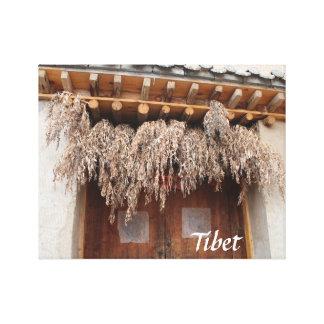 Amdo Tibetan Traditional Village Wooden Door Canvas Print