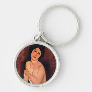 Amedeo Modigliani Large Seated Woman Silver-Colored Round Keychain