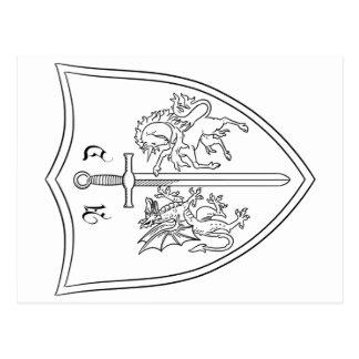 Amelia DragonHunter Coat of Arms Coloring Postcard